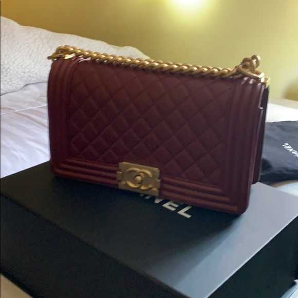 CHANEL Handbags - Chanel medium le boy,maroon gold